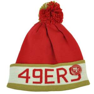 Mitchell Ness San Francisco 49ers Cuffed Pin Pom Pom Knit Beanie Skully Football