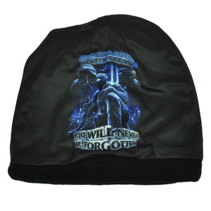 Never Forgotten in Memory of Our Fallen Brothers Knit Beanie Sublimated Military