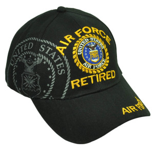 Air Force Retired United States Military Black Hat Cap Adjustable Curved Bill