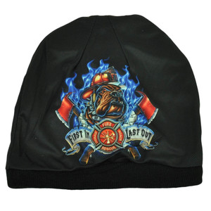 First In Last Out Fire Fighter Rescue Sublimated Knit Beanie Cuffless Hat Black