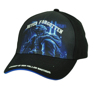 Never Forgotten Memory Fallen Brothers Black Sublimated Hat Cap Adjustable Blue