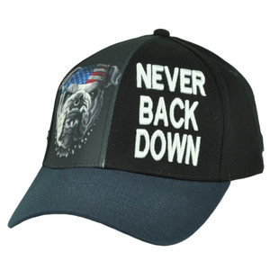 Never Back Down USA Flag English Bulldogs Hat Cap Black Adjustable American