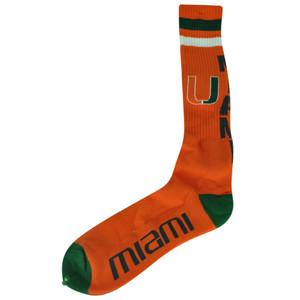 NCAA Miami Hurricanes Long Knee High Socks Spirit Game Day Orange Canes UM Logo