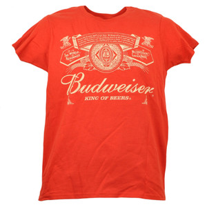 Budweiser Lager Beer Tshirt Tee Womens Ladies Red Drink Short Sleeve Alcohol