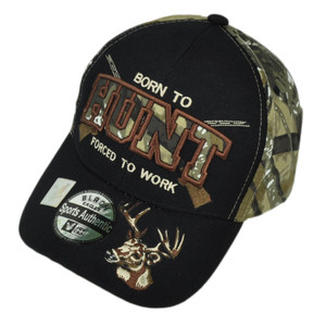 Born To Hunt Forced Work Camouflage Camo Two Tone Hunting Hunter Hat Cap