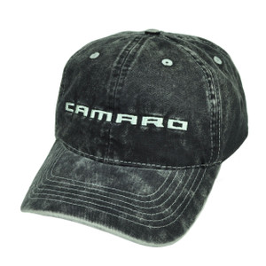 Camaro Dark Denim Wash Black Relaxed Sun Buckle Hat Cap General Motors Cars