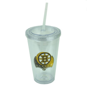 NHL Boston Bruins Tumbler Cup Straw Lid 16oz Water Liquid Plastic Sip N Go Clear