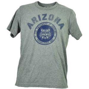 NCAA Arizona Wildcats Tshirt Tee Gray Short Sleeve Mens Adult Crew Neck Sports