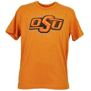 NCAA Oklahoma State Cowboys Orange Tshirt Tee Distressed Logo Short Sleeve Sport