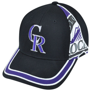 MLB Fan Favorite Colorado Rockies Ellison Striped Velcro Adjustable Hat Cap