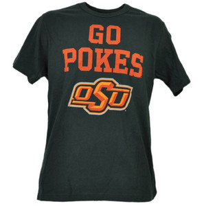 NCAA Oklahoma State Cowboys Go Pokes Black Mens Tshirt Tee Short Sleeve Sports
