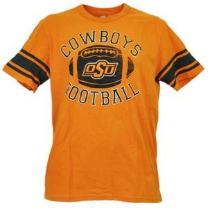 NCAA Oklahoma State Cowboys Football Striped Short Sleeve Orange Tshirt Tee Mens