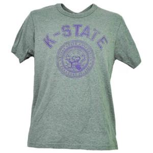 NCAA Kansas State Wildcats Gray Tshirt Tee Mens Short Sleeve Crew Neck Sports