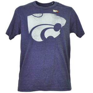NCAA Kansas State Wildcats Distressed Logo Short Sleeve Purple Mens Tshirt Tee