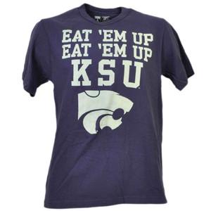 NCAA Kansas State Wildcats Eat Em Up KSU Purple Tshirt Tee Mens Short Sleeve