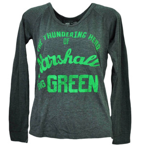 NCAA Marshall Thunder Herd Big Green Long Sleeve Womens Tshirt Tee Gray Sports
