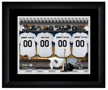 MLB Personalized Locker Room Print Black Frame Customized Chicago White Sox
