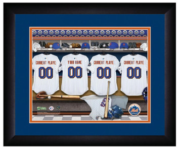 MLB Personalized Locker Room Print Black Frame Customized New York Mets 13 X 16