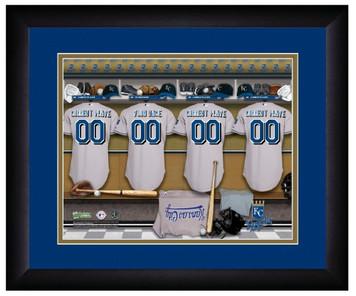 MLB Personalized Locker Room Print Black Frame Customized Kansas City Royals