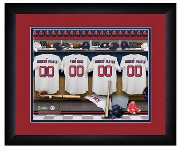 MLB Personalized Locker Room Print Black Frame Customized Boston Red Sox
