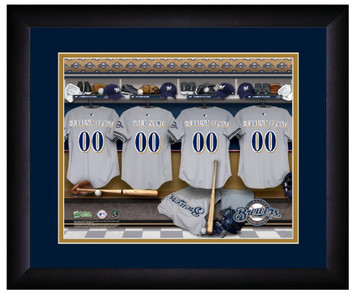 MLB Personalized Locker Room Print Black Frame Customized Milwaukee Brewers