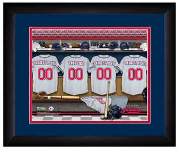 MLB Personalized Locker Room Print Black Frame Customized Cleveland Indians