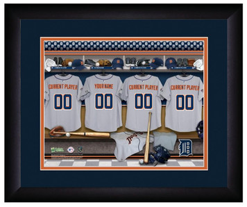 MLB Personalized Locker Room Print Black Frame Customized Detroit Tigers