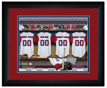 MLB Personalized Locker Room Print Black Frame Customized Los Angeles Angels