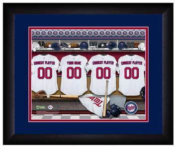 MLB Personalized Locker Room Print Black Frame Customized Minnesota Twins