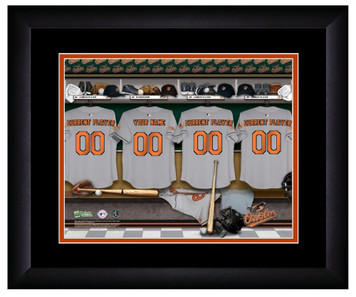 MLB Personalized Locker Room Print Black Frame Customized Baltimore Orioles
