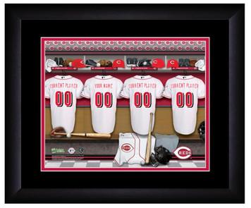 MLB Personalized Locker Room Print Black Frame Customized Cincinnati Reds