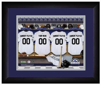 MLB Personalized Locker Room Print Black Frame Customized Colorado Rockies