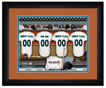 MLB Personalized Locker Room Print Black Frame Customized Miami Marlins 13 X 16