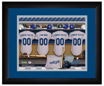 MLB Personalized Locker Room Print Black Frame Customized Los Angeles Dodgers
