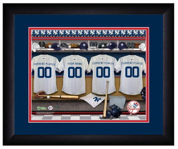 MLB Personalized Locker Room Print Black Frame Customized New York Yankees