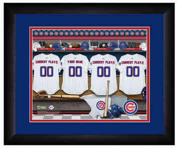 MLB Personalized Locker Room Print Black Frame Customized Chicago Cubs