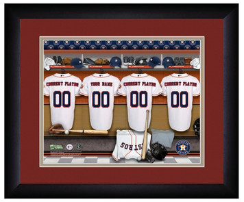 MLB Personalized Locker Room Print Black Frame Customized Houston Astros