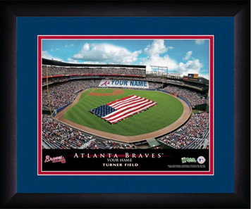 MLB Atlanta Braves Blue Turner Field Personalized Stadium Print Poster Frame