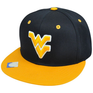 NCAA West Virginia Mountaineers Flat Bill Velcro Constructed Hat Cap Two Tone