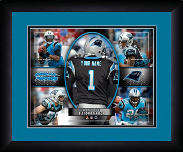 NFL Personalized Action Collage Print Framed Black Customized Carolina Panthers