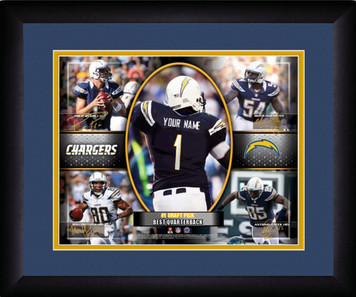 NFL Personalized Blue Action Collage Print Black Frame Custom San Diego Chargers