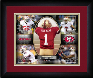 NFL Personalized Red Action Collage Print Black Frame Custom San Francisco 49ers