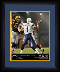 NFL Personalized Quarterback Action Print Black Frame Custom San Diego Chargers