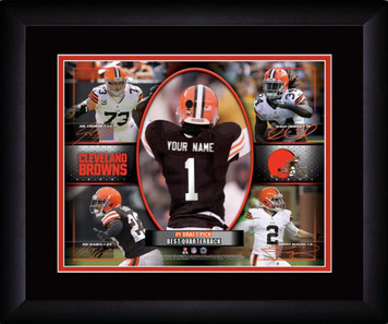 NFL Personalized Action Collage Print Black Frame Customized Cleveland Browns