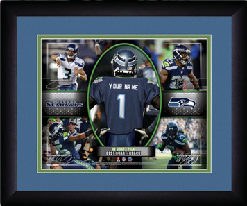 NFL Personalized Blue Action Collage Print Black Frame Custom Seattle Seahawks