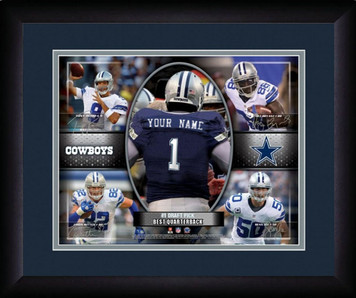NFL Personalized Action Collage Blue Print Black Frame Customized Dallas Cowboys