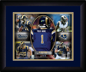NFL Personalized Blue Action Collage Print Black Frame Customized St Louis Rams