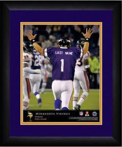 NFL Personalized Quarterback Action Print Black Frame Custom Minnesota Vikings