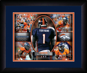 NFL Personalized Blue Action Collage Print Black Frame Customized Denver Broncos