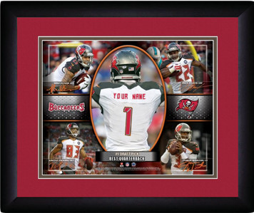 NFL Personalized Red Action Collage Print Frame Customized Tampa Bay Buccaneers